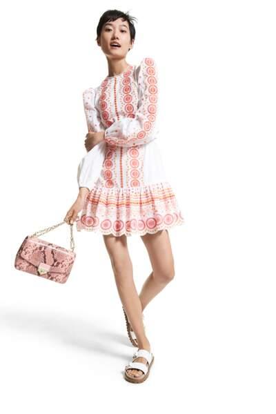Mini robe en voile de coton brodé, 225€, Michael Kors