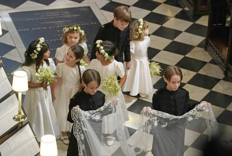 19 mai 2018 : Les enfants d'honneur de Meghan Markle dont les jumeaux, fils de son amie Abigail Spencer.