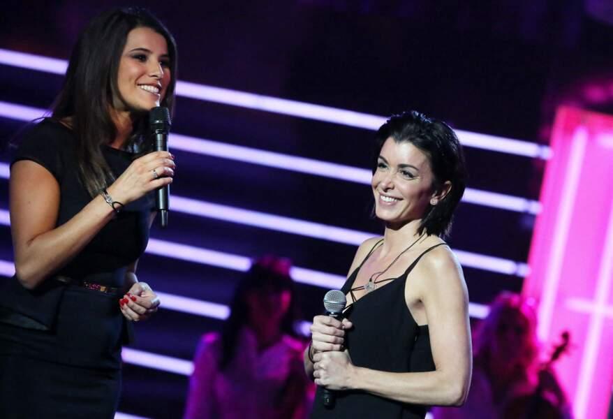 """Karine Ferri et Jenifer lors de l'enregistrement de l'émission """"Tout pour la Musique"""" presentée par Karine Ferri, le 1er juin 2013"""