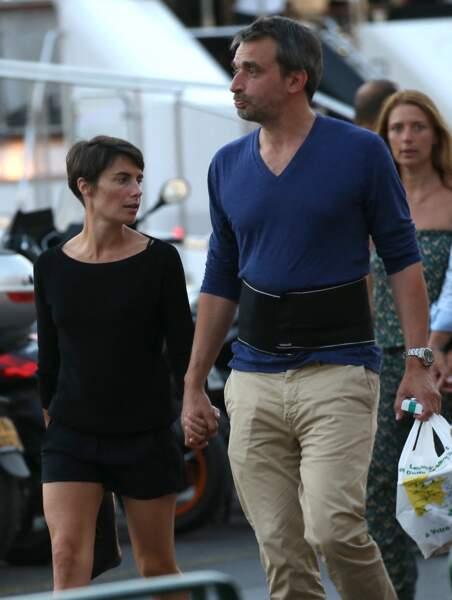 Alessandra Sublet et son mari Clément Miserez, à Saint-Tropez, le 10 juillet 2015