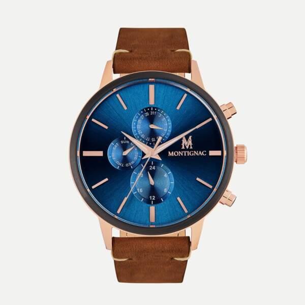 Montre baroudeuse au cadran bleu et bracelet en cuir, 199€, Maison Montignac
