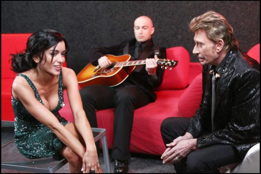 Jenifer et Johnny Hallyday lors de la finale de la Star Academy 7, le 15 février 2008