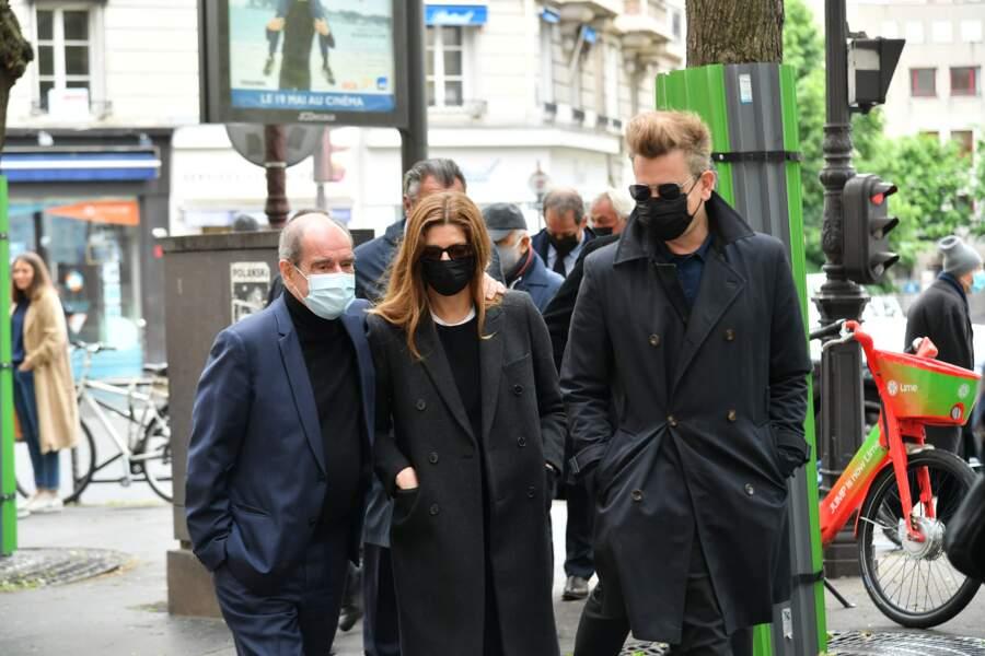 Pierre Lescure, Chiara Mastroianni et Benjamin Biolay  ce mercredi 19 mai aux obsèques de Jean-Yves Bouvier