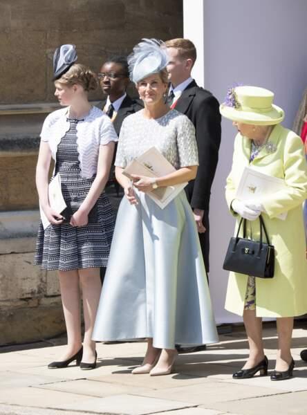 La robe bleue pastel de Sophie de Wessex au mariage de Meghan Markle et du prince Harry, le 19 mai 2018.