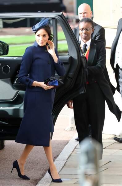 La tenue bleue marine et le bibi chic de Meghan Markle au mariage d'Eugenie d'York et Jack Brooksbank, le 12 octobre 2018.