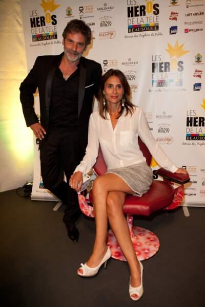 """Avy Marciano et sa femme Diane Robert - 3ème festival """"Les Heros de la Tele"""" à Beausoleil le 11 octobre 2014."""