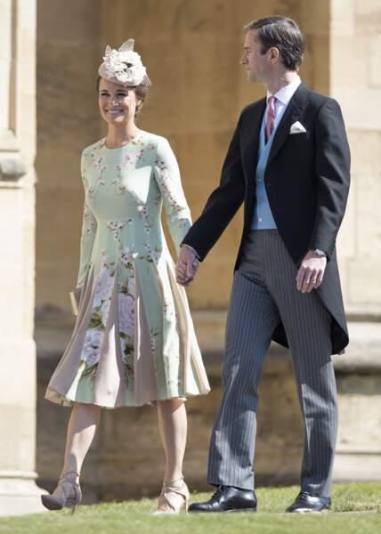 L'ensemble vert imprimé de Pippa Middleton au mariage de Meghan Markle  le 19 mai 2018.