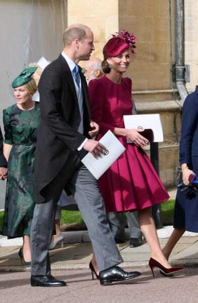 La robe fuchsia Alexander McQueen de Kate Middleton  au mariage de la princesse Eugenie d'York, le 12 octobre 2018.