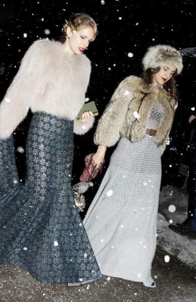 Les tenues féériques d'Eugenie Niarchos et Margherita Missoni au mariage d'Andrea Casiraghi et Tatiana Santo Domingo, le 1er février 2014.