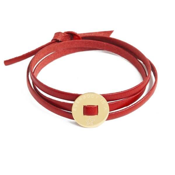 Bracelet cuir Rouge star, 55€, La Mome Bijou
