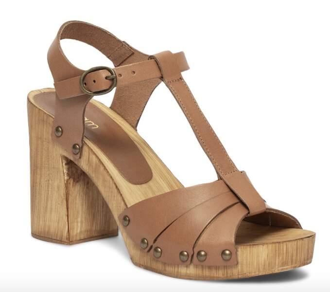 Sandale sabot marron en cuir et talon imitation bois, 59€, Eram