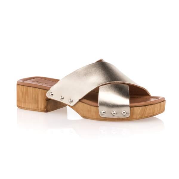 Sabots en cuir à petit talon, 44,99€, Bessons Chaussures