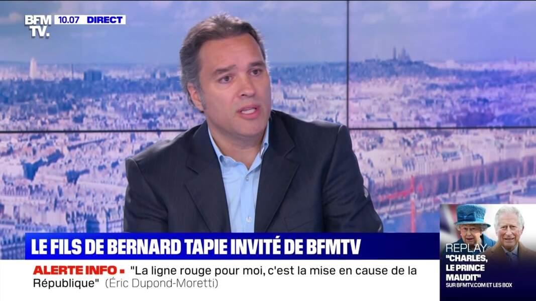 Laurent Tapie, le 27 mai 2021, sur le plateau de BFM TV.