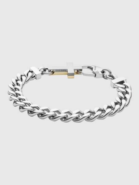 Bracelet à maillons carrés en acier inoxydable avec croix, 85€, Diesel