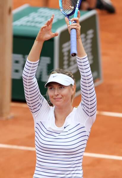Maria Sharapova en top marinière à Roland Garros en 2015