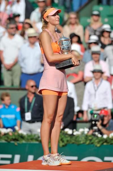 Maria Sharapova à Roland Garros en 2014 qu'elle a remporté