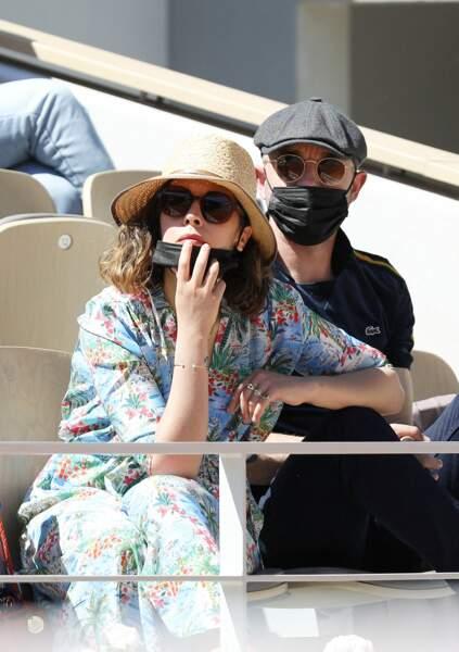 Alysson Paradis et Guillaume Gouix eu tournoi de Roland Garros à Paris, ce dimanche 30 mai 2021