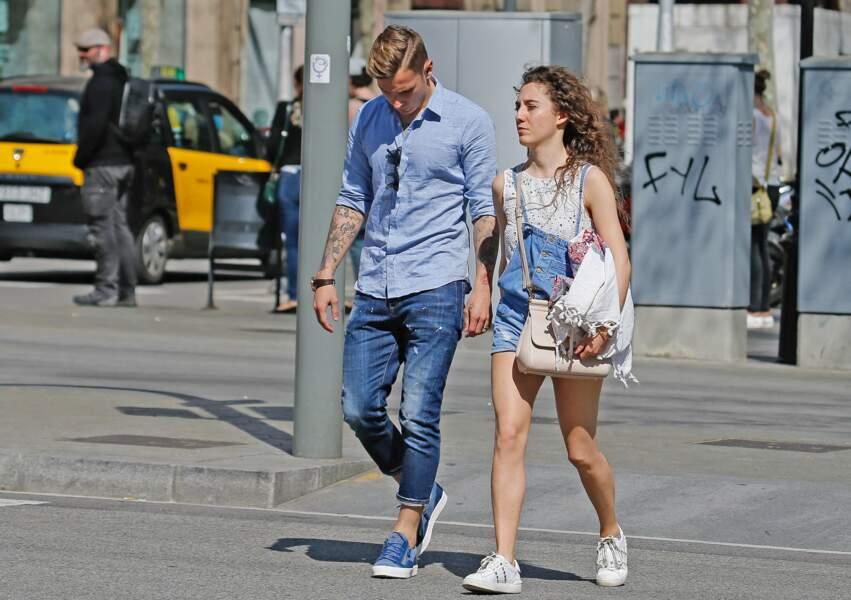 Lucas Digne et sa femme Tiziri en mars 2017 à Barcelone.