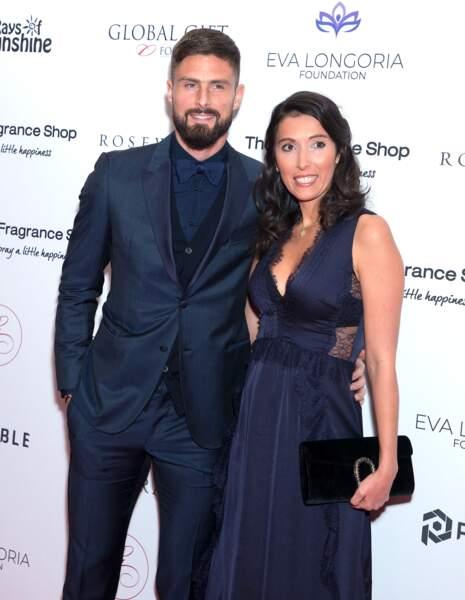 Olivier Giroud et son épouse Jennifer en novembre 2018 à Londres.