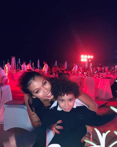 Cora Gauthier en mai 2021 avec Ibrahim, né de son mariage avec Karim Benzema.