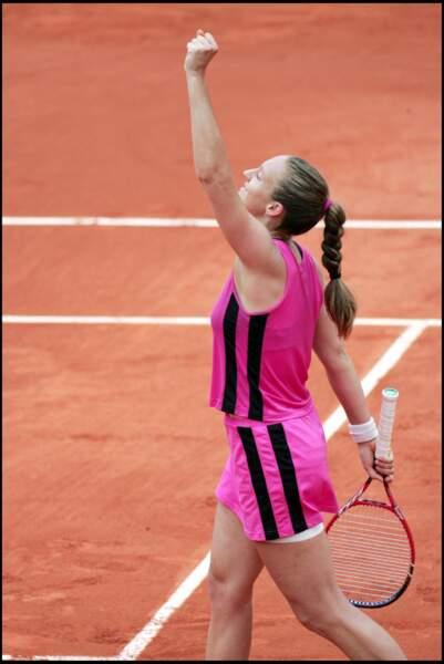 Mary Pierce en rose et grosse tresse à Roland Garros en 2005