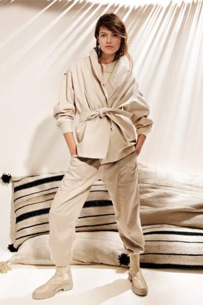 Pantalon cargo en coton et lin, 180€, bash