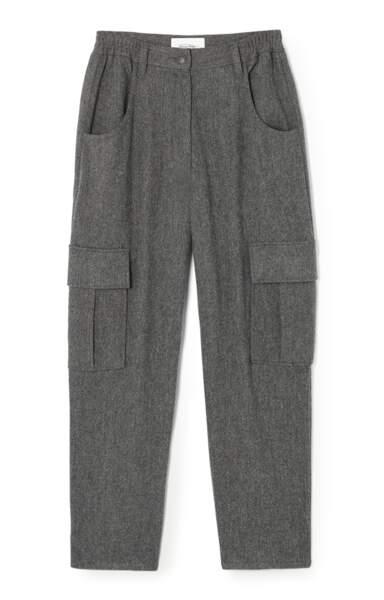 Pantalon coupe droite et poches à rabats en laine mélangée, 130€, American Vintage