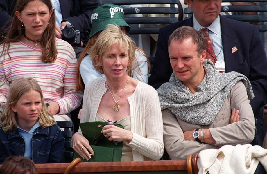 Sting, sa femme Trudy Styler et leur fille Coco à Roland-Garros en 1999