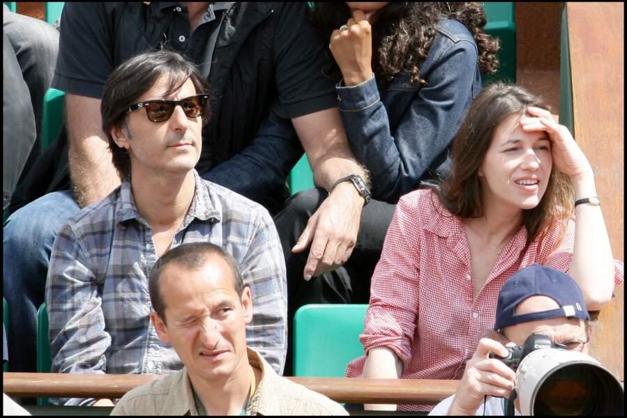 Charlotte Gainsbourg et son mari Yvan Attal à Roland-Garros en 2009