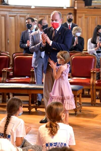 Albert II passe une après-midi complice avec ses enfants Jacques et Gabriella au musée océanographique, le 1er juin 2021