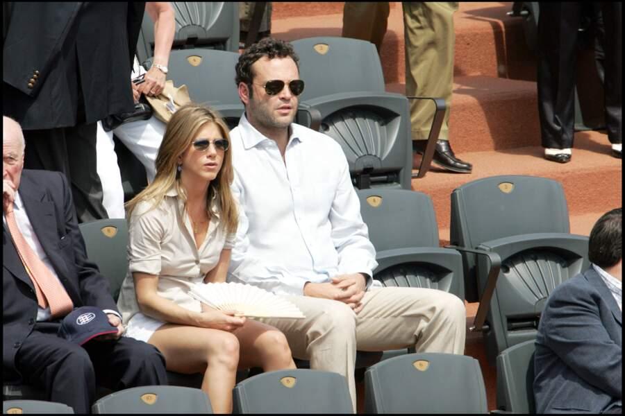 Jennifer Aniston et Vince Vaughn en 2006 à Roland-Garros