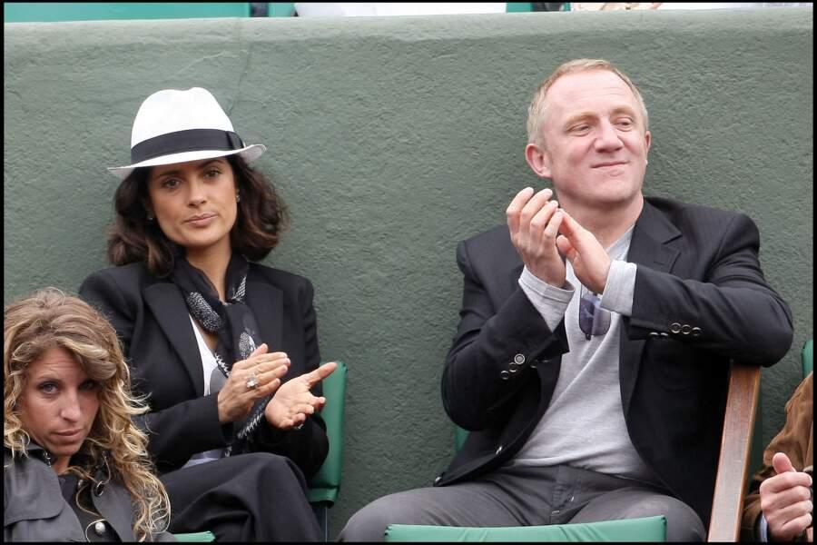 Salma Hayek et François Henri Pinault en 2010 à Roland-Garros