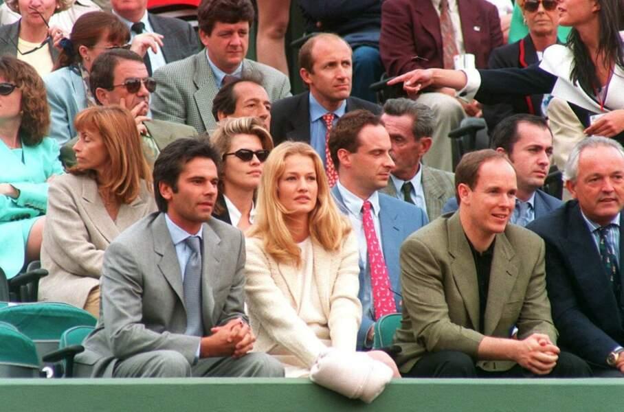 Jean Yves Lefur, Karen Mulder et le prince Albert de Monaco à Roland-Garros en 1994