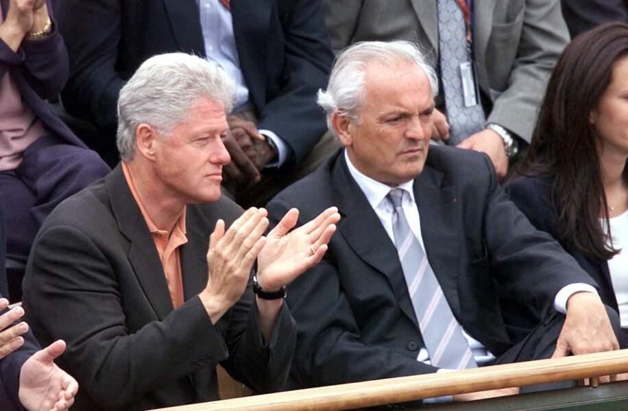 Bill Clinton et Christian Bimes à Roland-Garros en juin 2001
