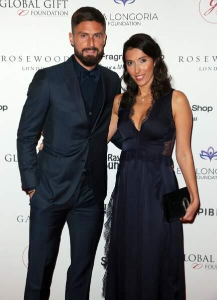 Olivier Giroud et sa femme Jennifer à Londres le 2 novembre 2018