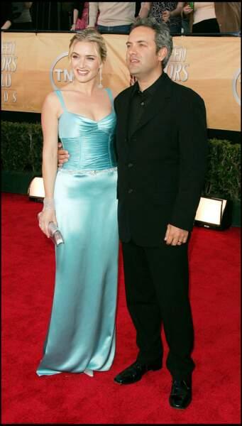 Kate Winslet en 2005 : chignon doré et robe sirène avec son deuxième mari Sam Mendes