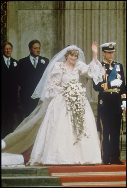 Lady Diana le jour de son mariage le 29 juillet 1981