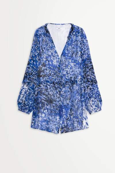 Combinaison short imprimé arty bleu, 110€, Suncoo Paris