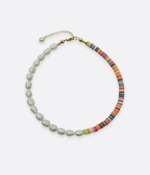 Collier surf, perles d'eau douce associées à des perles heishi, 45€, lamaiastra