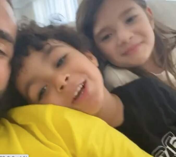 Karim Benzema, et ses enfants Ibrahim et Mélia.