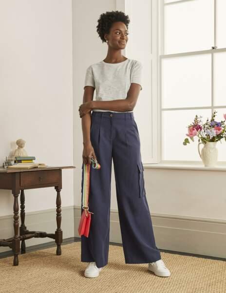 Pantalon cargo à coupe large en lin mélangé, 115€, Boden