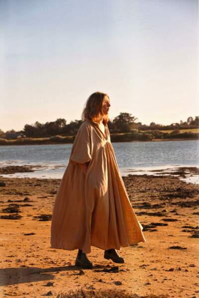 Robe longue Donatienne Beige palourde, 180€, Kerners