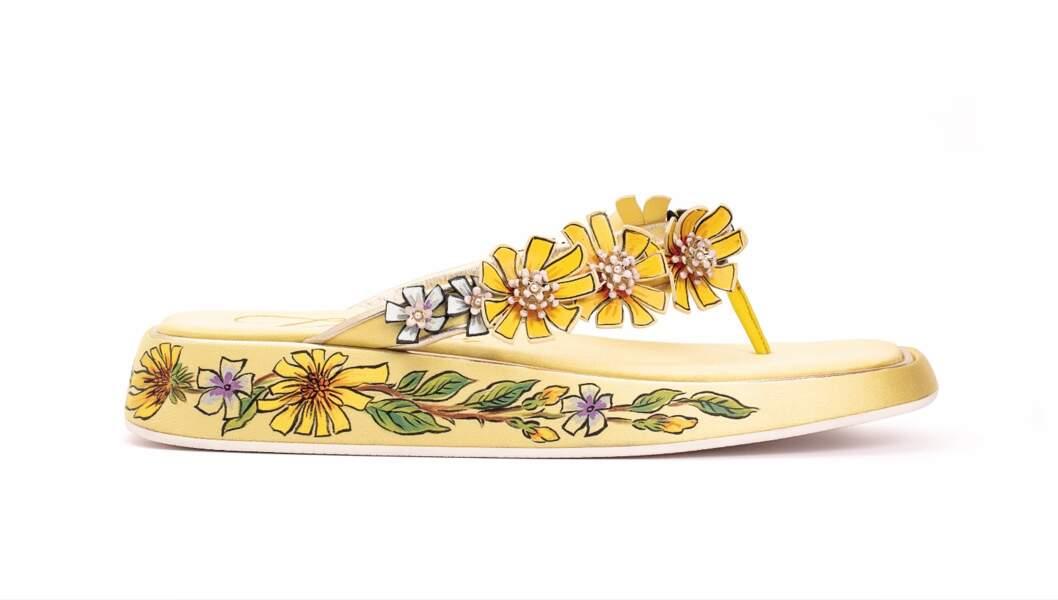 Vivier Slide Blossom Thong Yellow, 1 500€, Roger Vivier