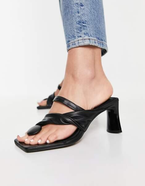 Sandale en cuir premium à talon mi-haut, 74,99€, ASOS Design