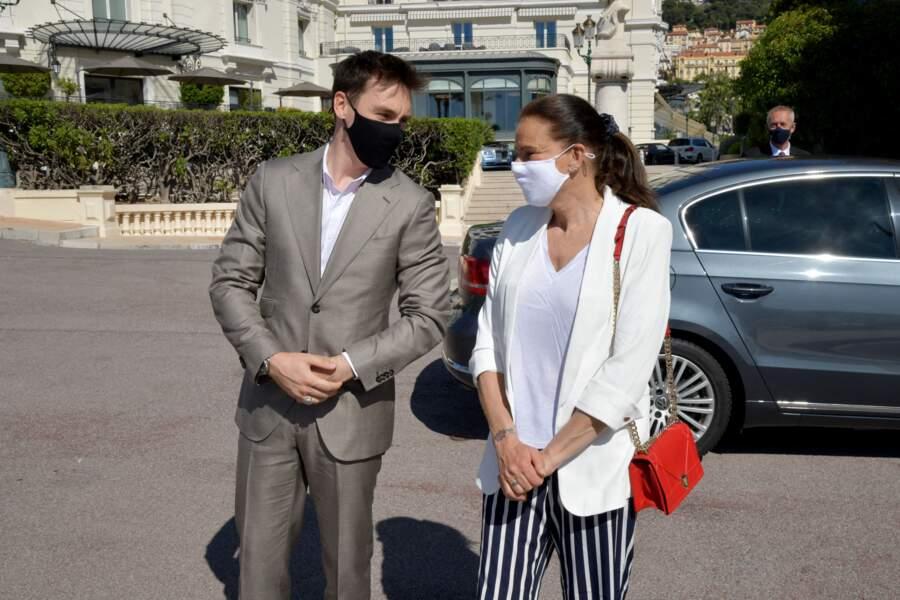 La princesse Stéphanie de Monaco, accompagnée par son fils Louis Ducruet