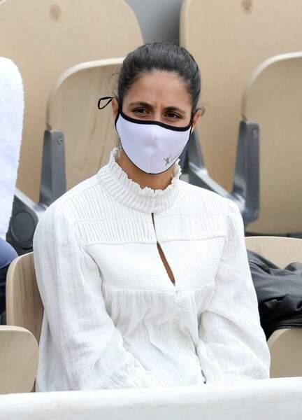 Xisca Perello dans les tribunes pour l'affrontement entre Rafael Nadal et Cameron Norrie le samedi 5 juin.