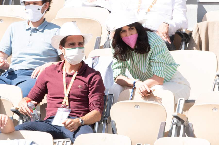 Arnaud Clément très complice avec sa compagne, Nolwenn Leroy lors de la compétition sportive de tennis.