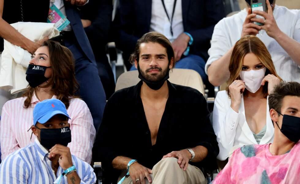Rachel Legrain Trapani, Renan Pacheco et Maëva Coucke très concentrés dans les tribunes des Internationaux de France de Tennis de Roland Garros à Paris. Le 9 juin 2021