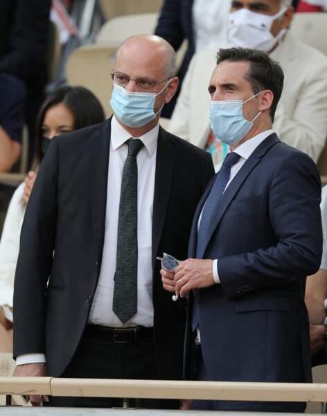 Jean-Michel Blanquer et Jean-Baptiste Djebbari assistent à un match à Roland-Garros, le 9 juin 2021