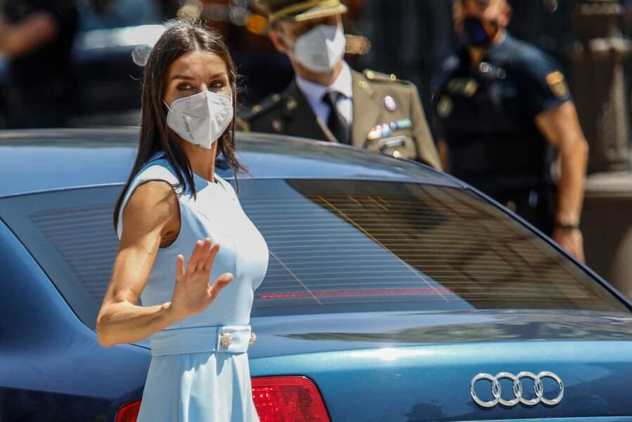 La reine Letizia fait son entrée au palais de San Telmo à Séville, Espagne, le 14 juin 2021.